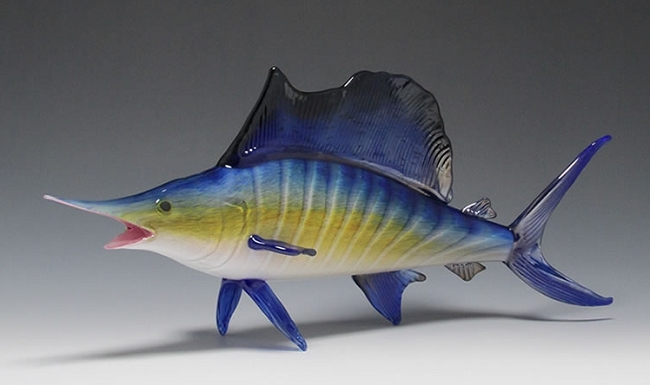Saltwater fish glass sculpture large for Large ocean fish