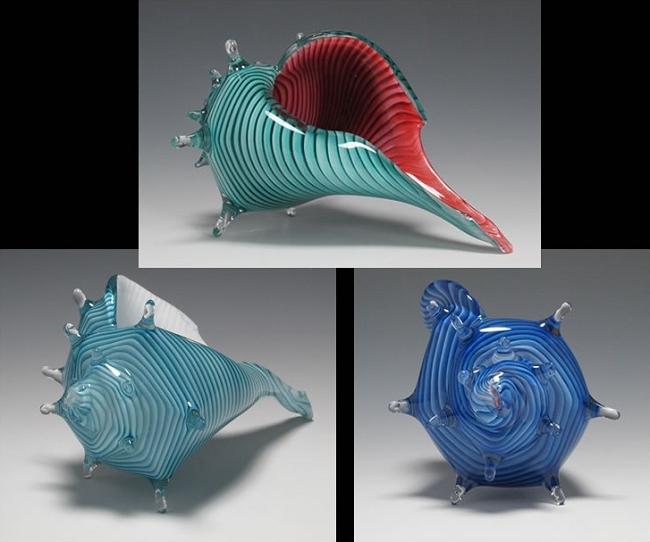 sea life glass sculptures whelk sea shells. Black Bedroom Furniture Sets. Home Design Ideas