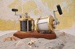 Fishing Reel Salt & Pepper Grinder Set with Teak Base
